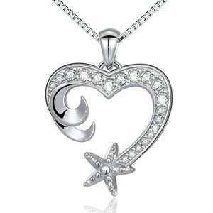 NEW S925 Nautical Heart Shape Wave Starfish
